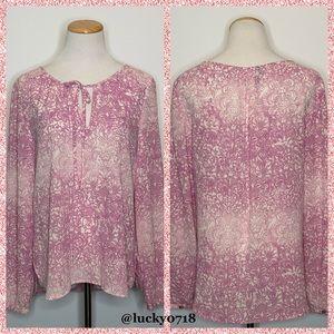 Sanctuary Pink White Print Tie Neck Blouse Sz XS